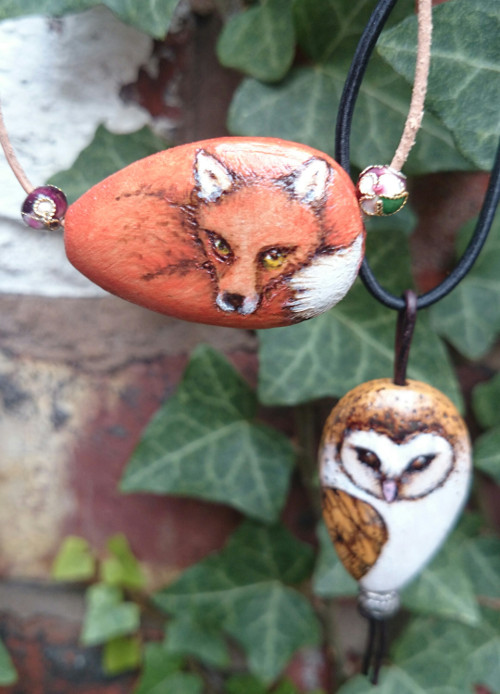 Finished Fox and Barn Owl Pendants