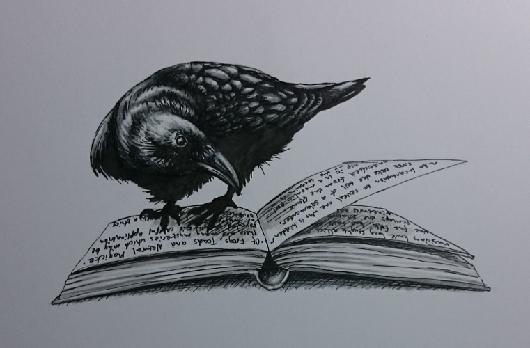 Clever Raven drawing for #inktober