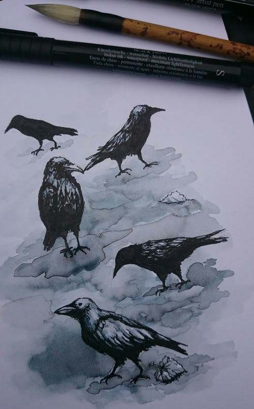 Crow drawing for #inktober