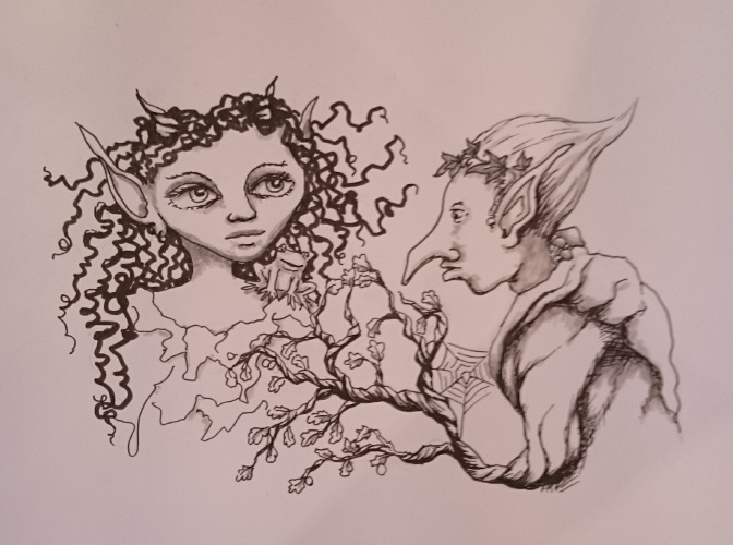 Fae Folk drawing for #inktober
