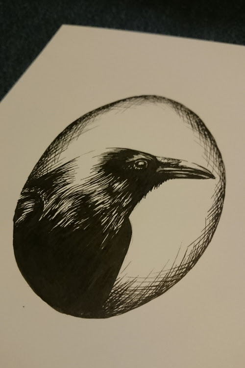 Raven Portrait for #inktober